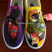 Slip On Vans Shoes with Hand Painting of Anime Attack On Titan Custom Design Canvas Shoes Water-resistant Paint