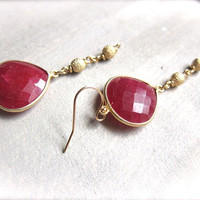 Ruby Earrings,Ruby Gold Earrings,Red and Gold Earrings,Ruby Dangle earrings,Stardust ball Chain Earrings,Roman style earrings,Ruby Jewelry