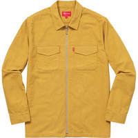Supreme: Solid Flannel Zip Up Shirt - Gold