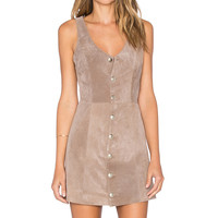 Capulet Front Button Up Suede Dress in Cinder