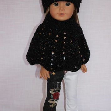 3 piece set 18 inch doll clothes, doll black sparkle crochet & poncho, white cotton skinny pants with flower dagger overlay, Upbeat Petites