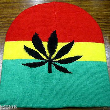 Rasta Red,Yellow,Green Large MJ Leaf  Winter Knitted Skull Beanie Ski Cap Hat