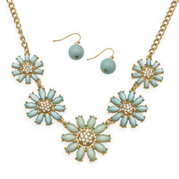 Gold Tone Fashion Necklace and Earring Set with Aqua Flowers