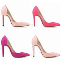 All-match Fashion Bright Lacquer Leather Shallow Mouth Pointed Head Shoes Women Heels Shoes