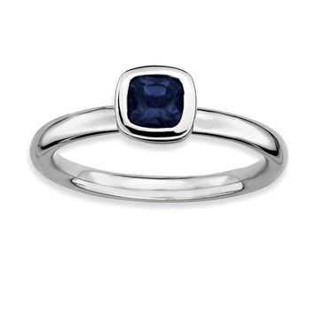 Silver Stackable Cushion Cut Created Sapphire Solitaire Ring