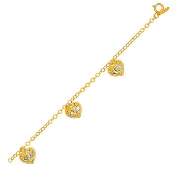 14K Yellow Gold Bracelet with Filigree Style Hearts