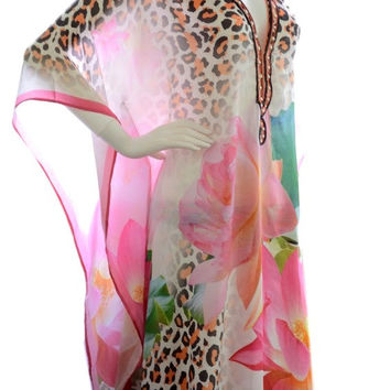 kaftan dress, long caftan dress, beach kaftan, designer fabric, boho silk kaftan, lotus motif