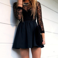 Hollow black lace dress FD1213BG