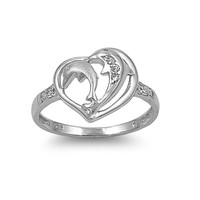 925 Sterling Silver CZ Dolphin Heart Ring 12MM