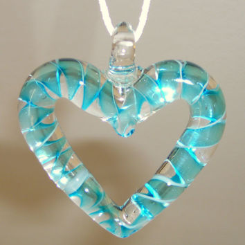 Clear Open Glass Heart Necklace with Turquoise Blue Lampwork on White Satin Cord. Light Blue. Heart Necklace. Jewelry Sale