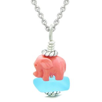 Sea Glass Sky Blue Frosted Cloud Pink Elephant Lucky Charm Magic Amulet Pendant 18 Inch Necklace
