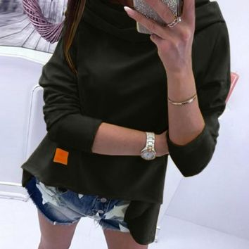 New Black Plain Draped Collar Long Sleeve Going out Fashion Blouse