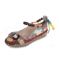 Bead Chain Knitting Butterflyknot Vintage Retro National Wind Lace Up Flat Shoes