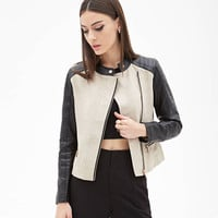 Cream  Quilted Black Long Sleeves  Jacket