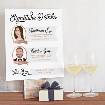 Signature Drink Sign for Wedding Bar with Signature Cocktails, Bride's Drink, Groom's Drink