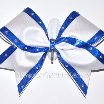 "3"" Wide Luxury Cheer Bow - Blue and White Comp  w/Rhinestones"