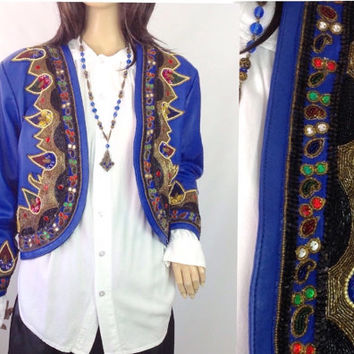 Vintage Beaded Jacket 80s Sequin Jacket Vintage Leather  Jacket Rocker Jacket Boho Jacket  Vintage Cropped Jacket Indian Hippie Jacket  M