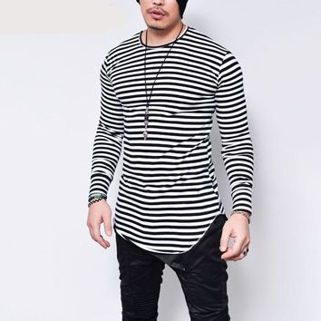 Stripes Long Sleeves Men Longline Shirts Extra Long Oversized Tall Tees