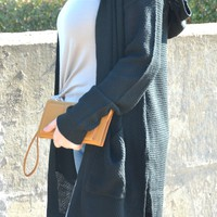 Don't Be Late Hooded Cardigan - Black
