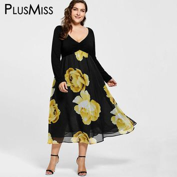 Plus Size 5XL Floral Print Empire Waist Chiffon Midi Dress Women Autumn 2017 Long Sleeve Sexy V Neck Party Dress Robe Femme