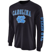 Mens North Carolina Tar Heels Navy Blue Arch & Logo Long Sleeve T-Shirt