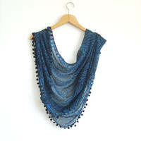 Navy Blue Gauzy Scarf With Ponpon / Turkish Handmade Scarf / Spring Fashion Shawl With Oya / Blue Pashmina