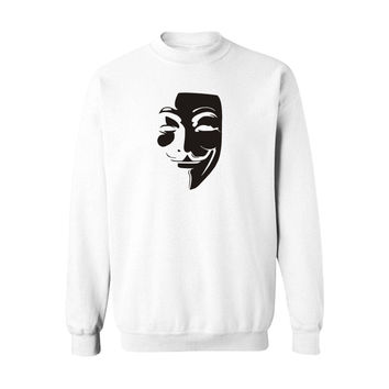 Classic Mask V for Vendetta White Plus Size Sweatshirt Women Loose in V Hoodies Woman Sweatshirts Spring Autumn 4XL Hoody