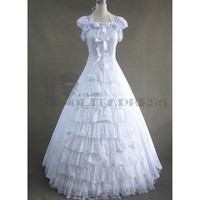 Affordable Simple Puff Sleeves Lace Bowknot Ruffles White Gothic Victorian Dress [TQL120427070] - £64.59