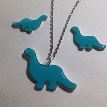 Blue Dinosaur Acrylic Charm 18 Inch Silver Necklace and matching post earrings
