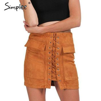 ICIKHY9 Simplee Apparel Autumn lace up suede leather women skirt 90's Vintage pocket preppy short skirt Winter high waist casual skirts