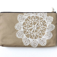 Lace Pencil Case Clutch Pouch Recycled Doily Tan