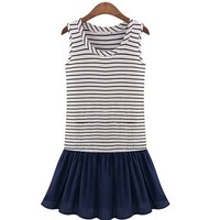 Kawaii Lolita Sailor Stripes Flouncing Tank Dress - Blue or White - S M L XL from Tobi's Finds