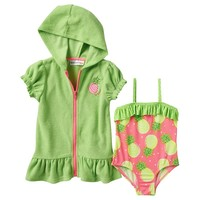 Wippette Pineapple One-Piece Swimsuit & Cover-Up Set - Baby Girl, Size: