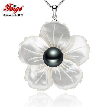 Exclusive Design Black Pearl Pendant Necklaces for Women Shell Carving Fine Jewelry Gifts Real 925 Sterling Silver Chain FEIGE