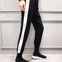 """Balenciaga"" Women All-match Casual Show Thin Fashion Multicolor Letter Stripe Leisure Pants Sweatpants Trousers"