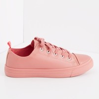 Dark Pink Faux Leather Low Top Sneaker | Low Top Sneakers | rue21