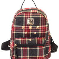Plaid Gold Canvas Backpack