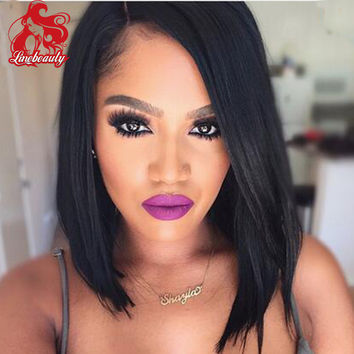 Synthetic Hair Women's Wigs Short Bob Wig Fake Hair Straight Short Wigs for Black Women Color Pixie Cut Female African American