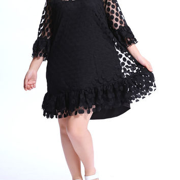 Sexy Polka Dot Net Yarn Ruffled Mini Dress For Women