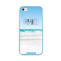 Shawnex Paradise Beach Hipster Quote Aqua Plastic iPhone 5 & 5S Case - Fits iPhone 5 & 5S