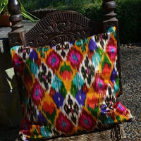 Ethnic Uzbek Ikat Silk handwoven cushion cover by margoshka