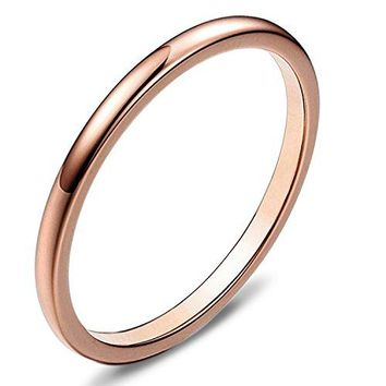 Sexbay 2mm Rose Gold Rings for Women Wedding Bands Thin Rose Gold Plated Polish Tungsten Ring For Women Engagement Band Comfort Fit Domed Size 614
