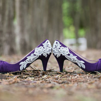 Purple Wedding Heels - Purple Bridal Shoes, Wedding Shoes with Ivory Lace. US Size 8.5