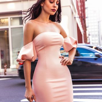 Vanna Light Pink Off Shoulder Puffy Sleeve Stretch Crepe Dress