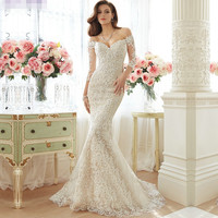 Boat Neck Lace Wedding Dress with Sleeves Mermaid Wedding Dresses 2016 robe de mariage