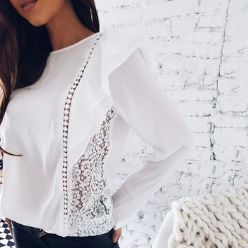 Ladies New Fashion Ruffles Lace Stitched Chiffon Blouse 2018 Spring Summer  Sexy Tops O-Neck Long Sleeve Causal Shirts