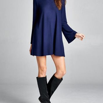 Royal Blue Bell Sleeve Hacci Dress