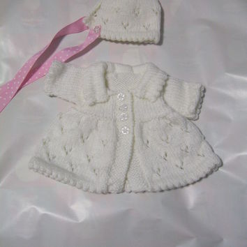 WHITE Hand Knitted Cardigan for NEW BORN OR DOLL baby present girls new born