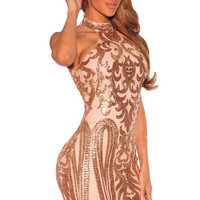 Vestidos Curto 2017 Sexy Turtleneck Elegant Party Club Wear Vintage Sequins Print Club Mini Dress for Women  LC22916