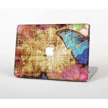 The Vintage Blue Butterfly Background Skin for the Apple MacBook Air 13""